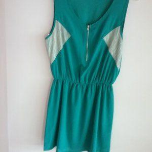 Chloe K Women Green Casual Sleeveless Dress Size M